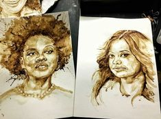 Coffee Drawing, Portrait, Tattoos, Drawings, Painting, Tatuajes, Headshot Photography, Tattoo, Painting Art