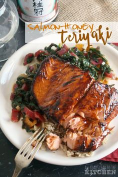 Salmon coated in a sweet, sticky honey teriyaki glaze.