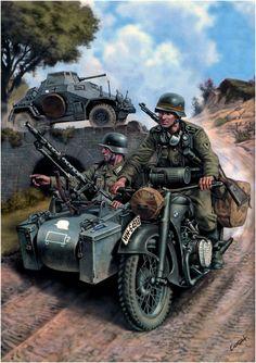 """WEHRMACHT - Unita di ricognizione della Division """"Grossdeutschland"""" su Motocicletta BMW R-12 - Juan Carlos Ciordia"""