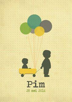 Geboortekaartje Pim - voorkant - Pimpelpluis - https://www.facebook.com/pages/Pimpelpluis/188675421305550?ref=hl (#  jongen - broertje - ballon - bolderkar - origineel)