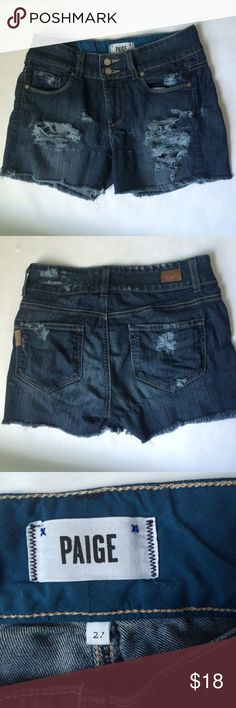 """🌟NEW Listing🌟Paige destroyed denim shorts Paige Hidden Hills straight jeans have been cut off into shorts and destroyed on the front & back for a one of a kind look. ***Because of the stretchiness and content of the material, the """"strings"""" are more of an elastic than a typical cotton.*** It produced a look that's more holey and destroyed. Size is 27. Inseam is 3"""". 80% cotton/19% polyester/1% elastane (spandex). Not interested in trades. Paige Jeans Shorts Jean Shorts"""