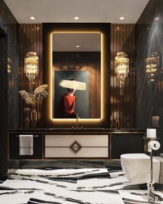 Luxury apartment in Moscow The guest bathroom with spectacular panels made of genuine leather and porcelain is not inferior to Washroom Design, Vanity Design, Toilet Design, Bathroom Design Luxury, Modern Bathroom Decor, Modern Bathroom Design, Luxury Interior Design, Bathroom Ideas, Interior Design Toilet