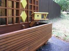 Items similar to Mid Century Modern Marque Privacy Screen or Trellis, Custom Sizes, Outdoor Divider, Googie, Garden Sculptures. Planter not included. on Etsy Outdoor Picnic Tables, Kids Picnic Table, Outdoor Seating, Outdoor Decor, Outdoor Privacy, Outdoor Living, Deck Planters, Window Planter Boxes, Modern Planters