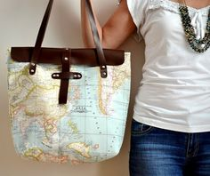 World Map Printed Fabric and Leather Tote Bag on Picsity tote - tote bag, #shoulder bag, map bag, map