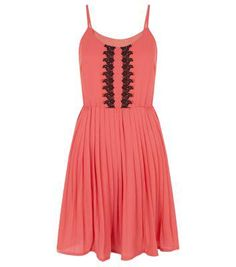 Cutie New Look Cutie Pink Strappy Embroidered Trim Pleated Dress #embroideddress #women #covetme