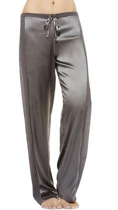 Full length La Perla pajamas trousers with georgette side panels - worn by Olivia Pope (Kerry Washington) on Scandal, season 4, episode 3.