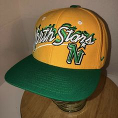 0615afd0 Vintage 90s MINNESOTA NORTH STARS Yellow Green WOOL Hat Cap Snapback ZEPHYR  NHL | eBay
