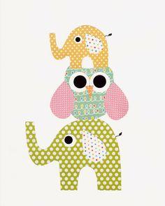 Elephant Nursery Artwork Print // Baby Room Decoration // Kids Room Decoration // Gifts Under 20 on Etsy, $14.00