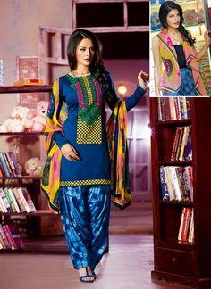 Blue Jacqueline Fernandez Kick Salwar Kameez