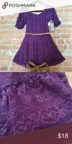 NWT Sequin Hearts Dress This beautiful dress has a sewn in slip with a lace overlay!  What a gorgeous shade of purple!   Whose ready for spring? Dresses Midi