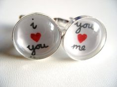 I Love You, You Love Me Cufflinks- unique handwritten black white and red love heart silver Cuff Links- Valentines Day Gift for Him