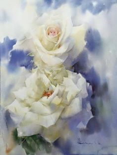 By Adisorn Pornsirikarn. Watercolor Print, Watercolor And Ink, Watercolour Painting, Watercolor Flowers, Art Floral, Abstract Flowers, Pictures To Paint, Botanical Art, Flower Art