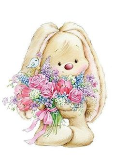 Bunny With Flower Bouquet