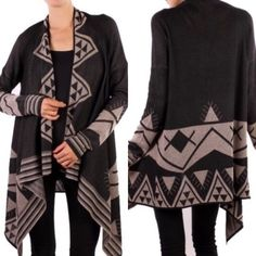HP 10/9 - The SHAILENE cardigan - BLACK NO FURTHER DISCOUNT! % polyester soft Aztec print cardigan. I'm so ready for FALL ladies. I love the simple yet feminine touch of these cardis. Available in black or mocha. ‼️NO TRADE‼️ Jackets & Coats