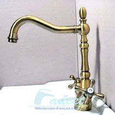 Two Handles Antique Brass Kitchen Faucet traditional kitchen faucets