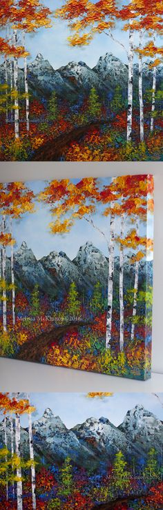 """""""Morning Hike"""" 24""""x24"""" MELISSA MCKINNON Contemporary Abstract Landscape Artist features BIG COLOURFUL PAINTINGS of Aspen & Birch Trees, Rocky Mountains and stunning views of the Canadian prairies, big skies and ocean beaches. Western Art. Abstract landscape painting of the Canadian Rocky Mountains and a colourful autumn forest of aspen and birch trees."""