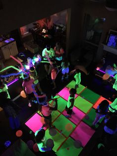 Glow Party Poster Board Dance Floor And Neon Balloons PosterPoster BoardsDance FloorsBlacklight