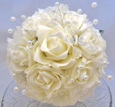 WEDDING FLOWERS BRIDES IVORY ROSE WITH PEARL BEADS BOUQUET
