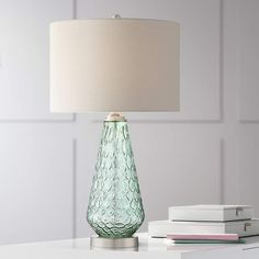 Buy Julia Modern Table Lamp Green Glass White Drum Shade for Living Room Bedroom Bedside Nightstand Office Family - 360 Lighting Contemporary Table Lamps, Modern Table, Sea Glass Colors, Bedroom Green, Coral Bedroom, Tiffany Lamps, Table Lamp Sets, Living Room Bedroom, Master Bedroom