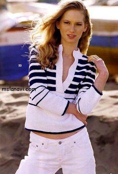 Как связать пуловер спицами в морском стиле  http://mslanavi.com/2014/06/pulover-spicami-v-morskom-stile/