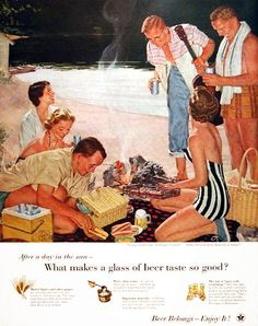 1955 U.S. Brewers Foundation original vintage advertisement. From the series Home Life in America. Titled Supper on the Sand, no. 111 in the series.