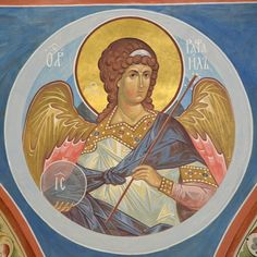 Religious Icons, Religious Art, Archangel Raphael, Byzantine Icons, Orthodox Icons, Christian Art, Cherub, Religion, Drawings