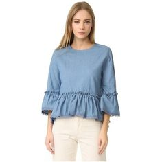 ENGLISH FACTORY Denim Top With Crochet Lace Trim (€67) ❤ liked on Polyvore featuring tops, blouses, denim, blue ruffle blouse, ruffle blouse, crochet tops, keyhole blouse and denim top