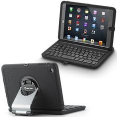 This sleek and portable wireless keyboard case will allow you to wirelessly connect to your iPad mini and type with ease. With an adjustable arm piece, you may also alternate between vertical and horizontal positions to achieve the perfect viewing angle and orientation.The Rugged rubberized exterior makes it water resistant, dirt Proof, and shock proof.