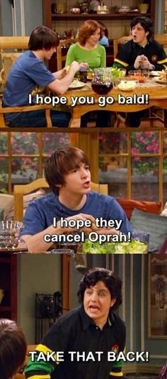 """I hope you go bald""..""I hope they cancel Oprah""...""TAKE THAT BACK"" lol"