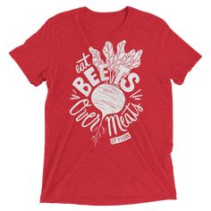 Shop eat beets over meats vegan t-shirt from our vegan clothing collection. Our vegan clothing brand is cruelty-free vegan. Shop your vegan t-shirt now! Vegan Fashion, Ethical Fashion, Vegetarian Lifestyle, Food T, Vegan Shopping, Vegan Clothing, Apparel Design, Going Vegan, Beets