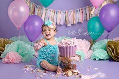 Purple Lavender Pink Aqua Teal Gold Baby Girl Cake Smash Giant Cupcake   Bella Rose Portraits  newborn and baby photographer photography