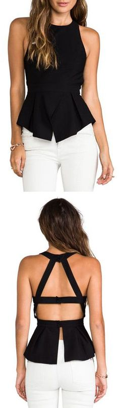 Black Open Back Criss Cross Peplum Tank <3