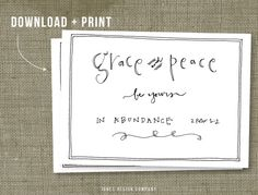 grace and peace free printable / jones design company