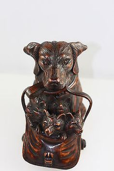 VINTAGE BLACK FOREST STYLE CARVED WOOD INKWELL DOG WITH PUPPIES GLASS EYES | Antiques, Woodenware, Treen | eBay!