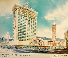 The Mint Hotel Addition vintage Las Vegas caino architecture postcard. #FremontStreet