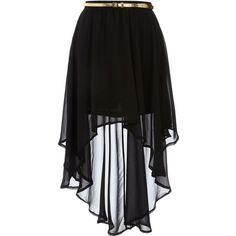 Black dip hem skirt ($27) ❤ liked on Polyvore featuring skirts, mini skirts, bottoms, saias, faldas, black, hi low skirt, high waisted chiffon skirt, black high low skirt and asymmetrical high low skirt