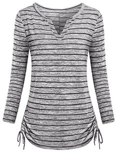 Women Casual V Neck Henley Shirts Long Sleeve Striped Side Tie Loose Tunic Tops Blouse Striped Long Sleeve Shirt, Casual Tops For Women, Casual T Shirts, Stylish Dresses, Cute Outfits, T Shirts For Women, Sleeves, Clothes, Image Link