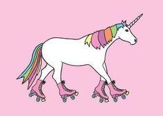 Unicorn on roller skates. it just makes sense Unicorn And Glitter, Real Unicorn, Magical Unicorn, Rainbow Unicorn, Unicorn Pics, Roller Derby, Roller Skating, Roller Disco, Unicorns And Mermaids