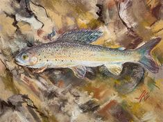 "Daily Paintworks - ""Greyling"" - Original Fine Art for Sale - © Jean Krueger Heart Painting, Fish Art, Freshwater Fish, Jeans For Sale, Trout, Art For Sale, Fresh Water, Brown Trout, River Fish"