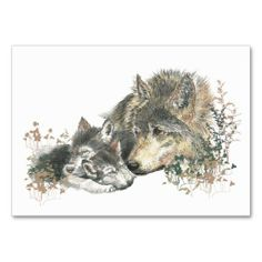 ACEO ATC Watercolor Mother Wolf & Cubs