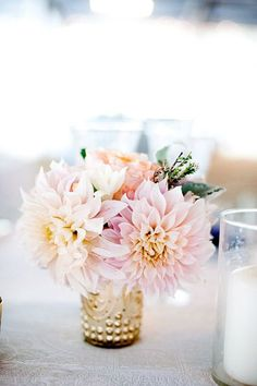 Wedding Flowers Mercury vases create a streamlined look - Eight reasons why the Cafe au Lait dahlia is quickly becoming every bride's favorite flower. Dahlia Centerpiece, Floral Centerpieces, Flower Arrangements, Flower Centrepieces, Centerpiece Ideas, Floral Arrangement, Table Centerpieces, Flower Bouquet Wedding, Floral Wedding