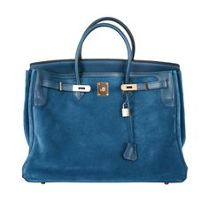 LIMITED HERMES BIRKIN BAG 40cm GRIZZLY SUEDE THALASSA BLUE PERMA ❤ liked on Polyvore