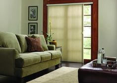 This is a great alternative to the vertical blinds over a patio door. This is a vertical cell shade. It can be pulled to the left, right or stacked in the middle. Will save heat from escaping or coming in depending on the season. Great alternative. www.budgetblinds.com