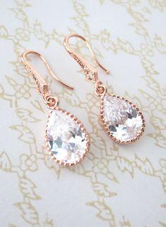 Rose Gold Cubic Zirconia Teardrop Earrings gifts...beautiful