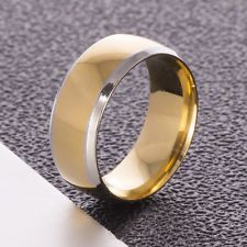 Unique Jewelry - 8mm Titanium Ring Wedding Band Stainless Steel Gothic Men Women Gold Size 9