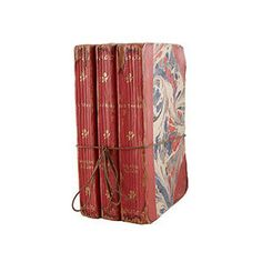 Book Boxes - Red Marbled Three-Stack | Wisteria