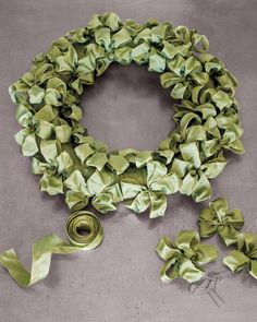Ribbon Wreath - The green ribbon wreath was made in multiples -- one for each window in my green living room. I know I will be using them for years to come; they are so beautiful.