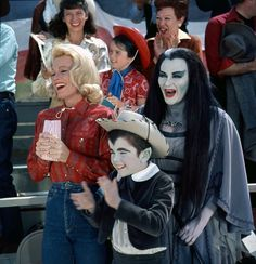 """Color photograph of Pat Priest, Yvonne DeCarlo and Butch Patrick watching Herman at the rodeo in """"The Munsters"""" Munsters Tv Show, The Munsters, Los Addams, Dark Romance, Herman Munster, Black Sheep Of The Family, Lily Munster, Yvonne De Carlo, Female Vampire"""