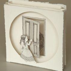 Thais Beltrame / Quem Dera Pudesse ir pra Longe / Nanquim e aquarela sobre assemblage de papel - 2013 - 14 x 14 cm