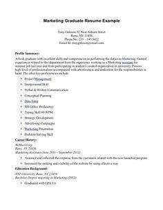 professional resume example sample for fresh graduate cover letter experience denial - Marketing Graduate Resume